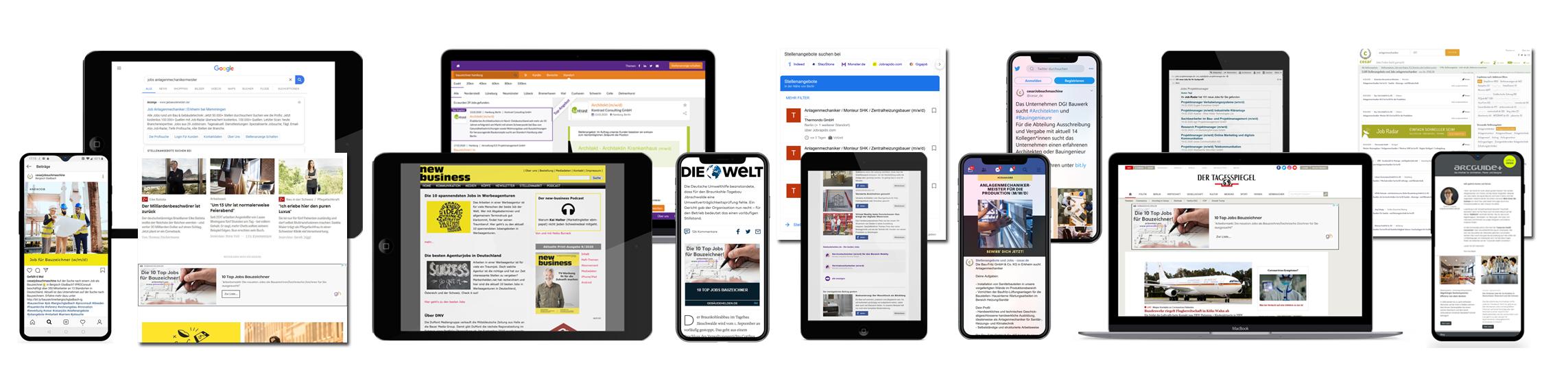 Stellenanzeigen, Redaktionelle Inhalte, Soziale Medien: Das Fachkräftenetz erreicht aktive wie latente Jobsucher